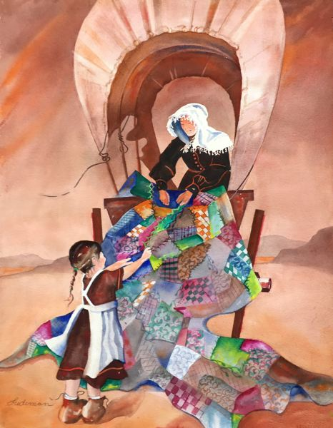 CONTRIBUTED PHOTO: STEVE LUDEMAN - Steve Ludeman used watercolors to depict a scene of a mother and daughter utlizing a quilt to find comfort and shelter on the Oregon Trail in his piece 'Comfort on the Trail.'