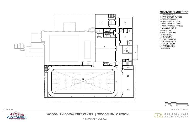 COURTESY OF CITY OF WOODBURN - Planners presented Woodburn City Council with sketches of the first and second floor plans for the multi-use community center, wrapped around the current Woodburn Aquatic Center.