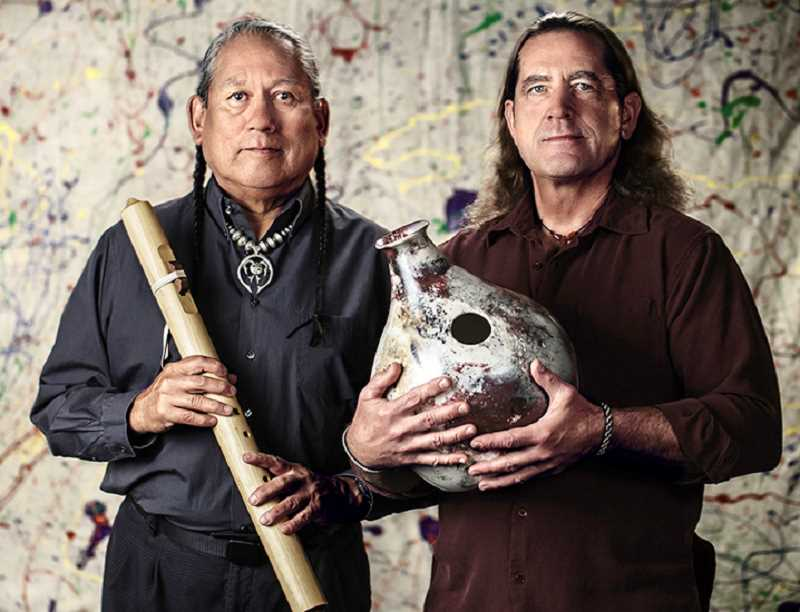 PHOTO BY ROBERT DOYLE - R. Carlos Nakai, left, and Will Clipman will perform an evening of Native American flute and percussion music April 4, at COCC's Wille Hall, in Bend. The event, from 6-8 p.m., is free and open to the public.