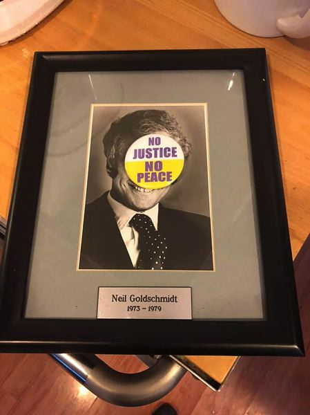 COURTESY PHOTO - This photo of the stolen Goldschmidt portrait was posted on Jeff Thomas Black's Facebook page. The portrait was apparently taken from  City Hall during the Wednesday, March 27, City Council meeting.