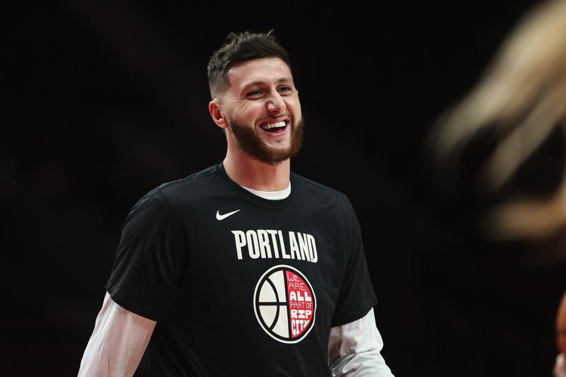 PMG FILE PHOTO - Jusuf Nurkic warms up before a Trail Blazers game. Fans have raised money for a get-well-soon billboard showing the NBA center a little love from the Rose City.
