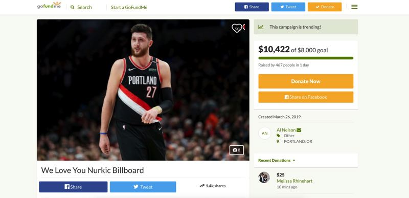 (Image is Clickable Link) COURTESY PHOTO - A GoFundMe page raised more than $10,000 in 36 hours to wish Jusuf Nurkic a speedy recovery from his gruesome injury suffered Monday against the Brooklyn Nets.