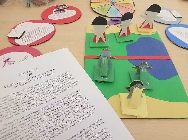 COURTESY PHOTO - Sixth graders Sydney Stuart and Mila Kaplan created a board game inspierd by the wars between Rome and Carthage.