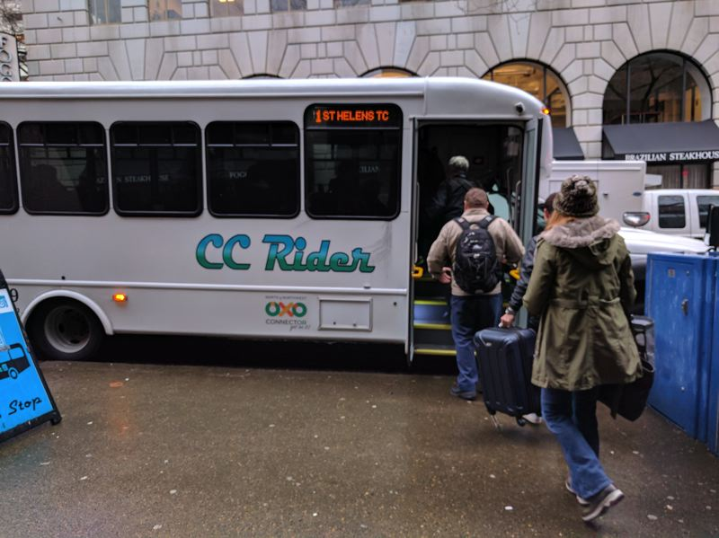 PMG FILE PHOTO - Riders board Columbia County's line in downtown Portland.