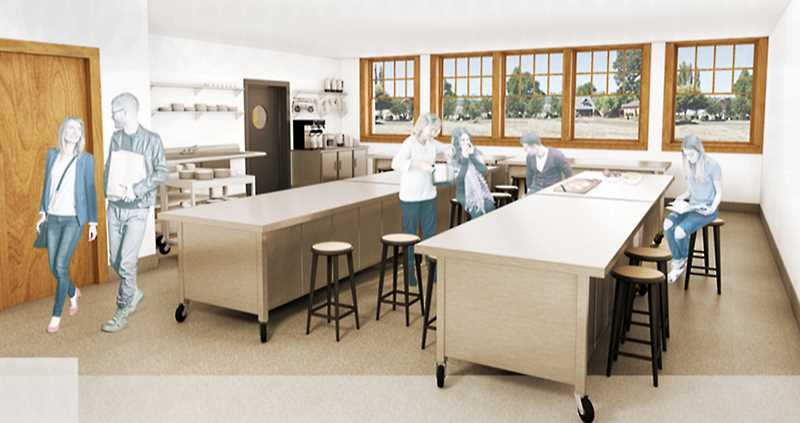 SUBMITTED RENDERING - An artist rendering shows a classroom that will be constructed in the Chehalem Cultural Center's new culinary enrichment center.