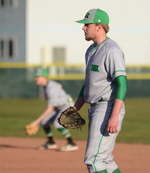 PMG PHOTO: DAVID BALL - Reynolds senior Spencer Verdieck is the ace of the Raiders pitching staff and plays at first base on other game days.