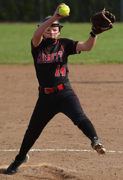 PMG PHOTO - Corbett sophomore Emma Dillard steps into the pitching circle full time for the Cardinals this spring.
