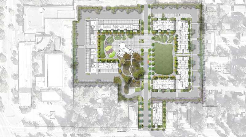 COURTESY RENDERING - The plans for Rockwood 10 include 224-units, a park and community spaces.