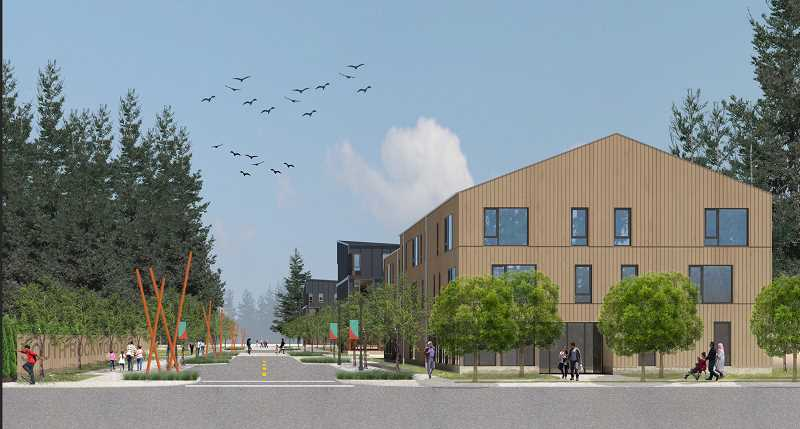 COURTESY RENDERING - The main entrance into the Rockwood 10 development would be along Southeast Yamhill Street.