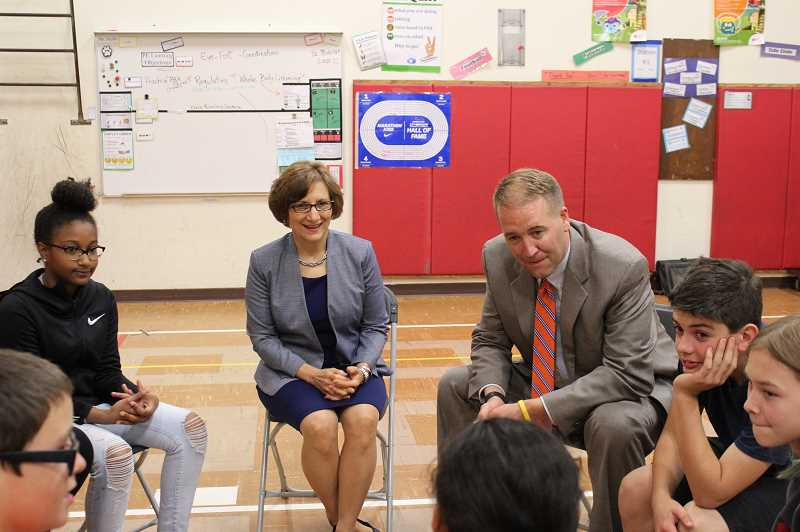 PMG PHOTO: OLIVIA SINGER - Rep. Suzanne Bonamici speaks with students at Hillsboro's Brookwood Elementary School with state Treasurer Tobias Read in 2018. Bonamici will hold two town halls in Gaston and Hillsboro in April.