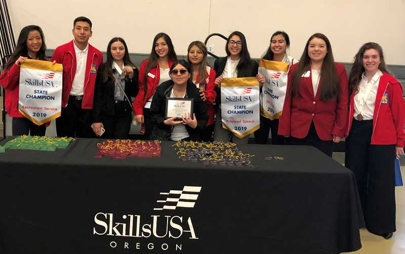 SUBMITTED PHOTO - SkillsUSA members, from left, Kelly Huang, Juan Huerta Hernandez, Elan Rios, Kelsey Olivera, Thalia Culpus (in front), Katherinne Parodi, Erika Olivera, Gigi Albarran, Jasmine Lopez (state vice president of membership), and Allison Turek brought home awards from the recent State Leadership and Skills Competition.