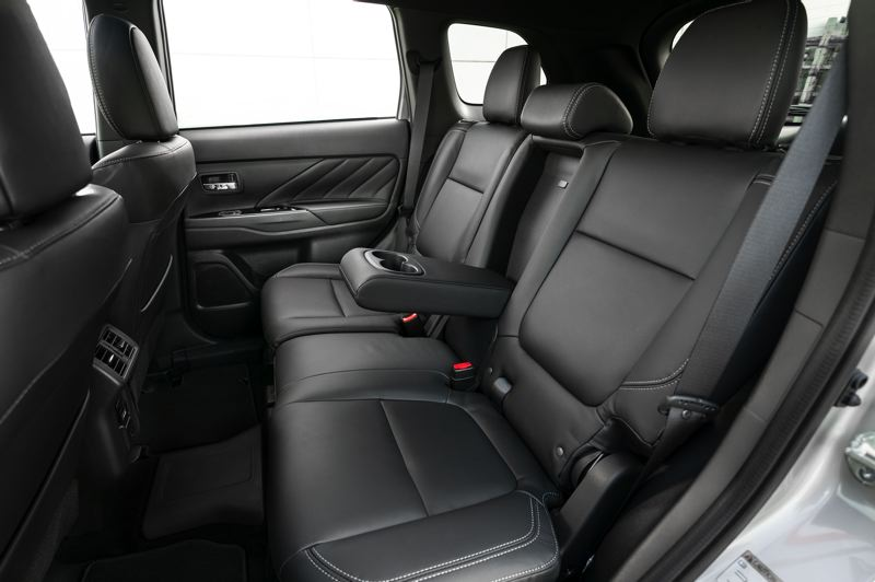COURTESY MITSUBISHI - Reat seat room in the 2019 Outlander PHEV is ample, in part because it does not have a hump for a drivershaft. The rear wheels are powered by one of its two electric motors.