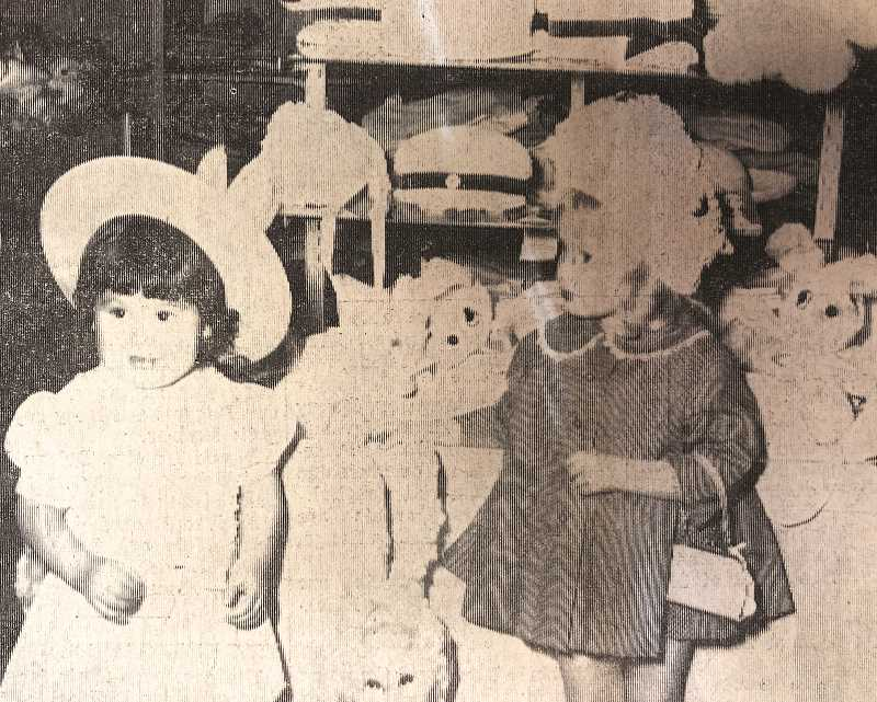 CENTRAL OREGONIAN FILE PHOTO  - APRIL 3, 1969: GOING THROUGH the dramatic experience of deciding which Easter bonnet would be best suited for the occasion are Miss Julie Michelle McQuire, daughter of Mr. and Mrs. Ed McQuire, and Miss Teresa Shelly Laursen, daughter of Mr. and Mrs. Gary Laursen, all of Prineville.