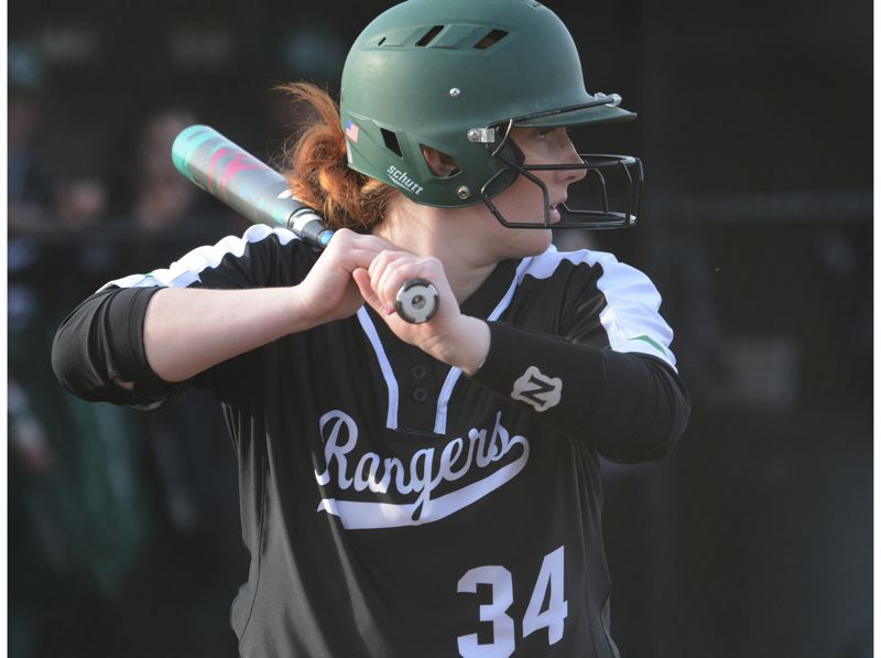 PMG PHOTO: DAVID BALL - Estacadas Rylie Canifax hit 4-for-5 and scored three times in the Rangers 22-1 win over Mountain View to finish a spring break tournament in Redmond.