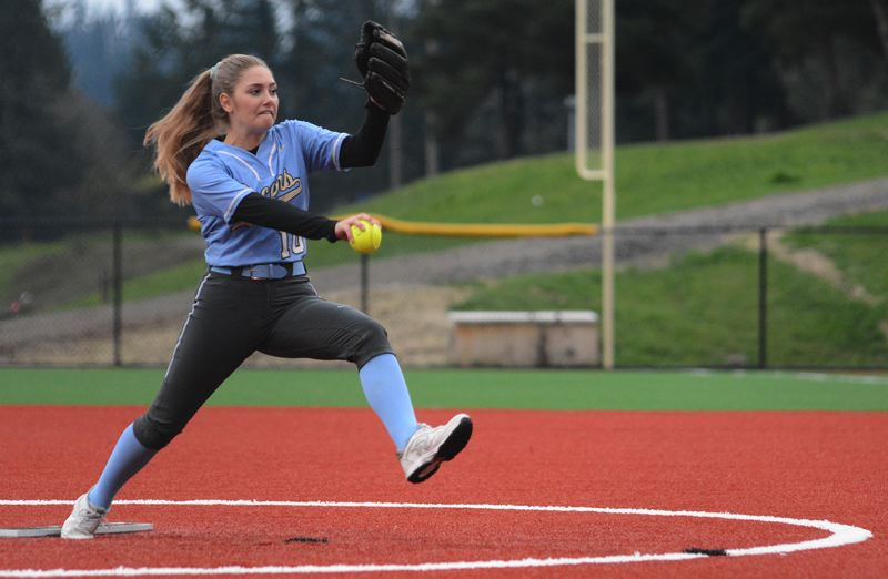 PMG PHOTO: DAVID BALL - Lakeridge sophomore Mackenzie Nelson fires a throw during her shutout effort in Mondays home win over David Douglas.