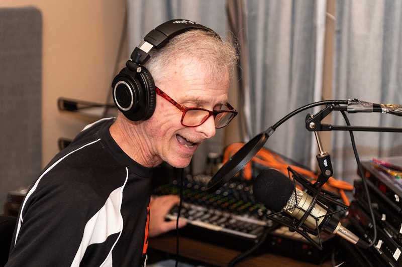 PMG PHOTO: CHRISTOPHER OERTELL - Hillsboro's Steve Paranto broadcasts 'Pickleball Talks With Steve Paranto,' live from his recording studio last Thursday, March 28, at his home in Hillsboro.