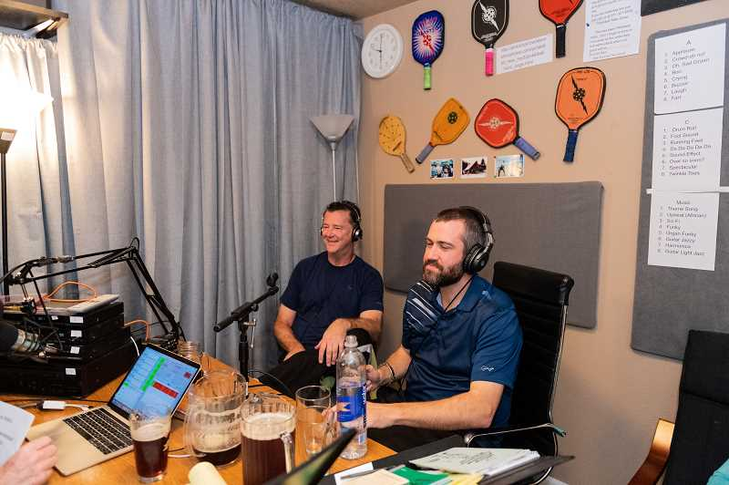 PMG PHOTO: CHRISTOPHER OERTELL - Randy Bither (left) and Wes Gabrielsen (right) answer questions about various aspects of pickleball with Steve Paranto during a live broadcast of his new podcast last Thursday, March 28, at Paranto's home in Hillsboro.
