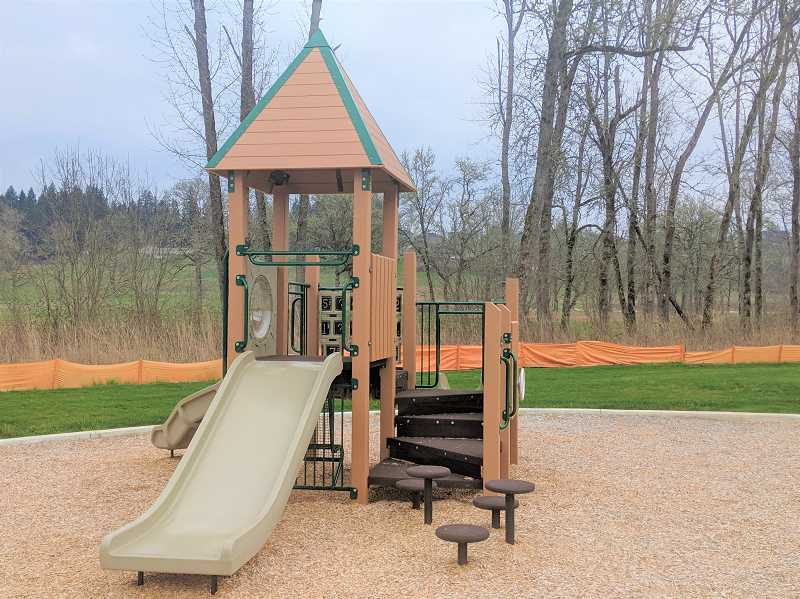 PMG PHOTO: EMILY LINDSTRAND - Estacada Parks and Recreation Commissioners are planning for the future of Fred Campanella Memorial City Park, which currently features a play structure, among other elements.