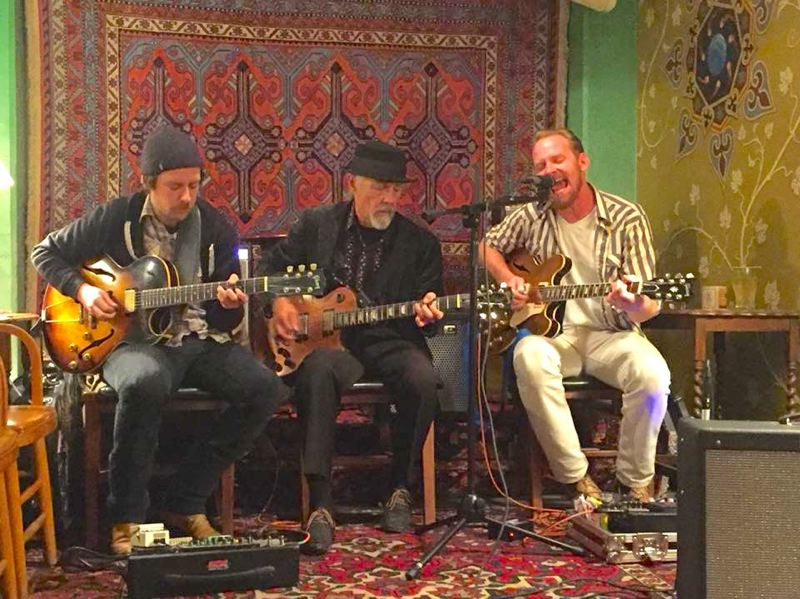 COURTESY PHOTO: CARMEN VANDEMARR - Taylor Kingman, Ken Turtle Vandemarr and Jay Cobb Anderson perform in one configuration of Turtles Guitar Mafia, a rotating cast of singer/songwriter/guitarists anchored by Vandemeer.