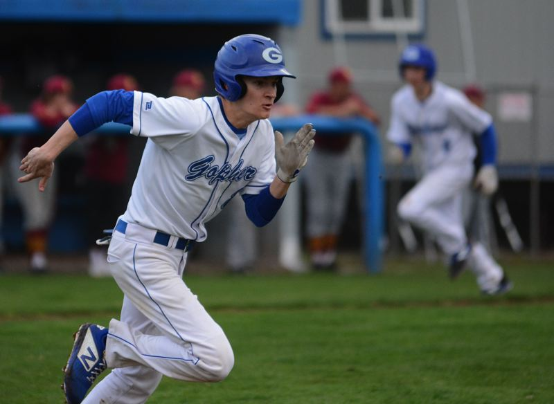 PMG PHOTO: DAVID BALL - Greshams Jayden Sare sprints for first base in the bottom of the seventh inning in the Gophers 1-0 loss to Central Catholic on Tuesday.