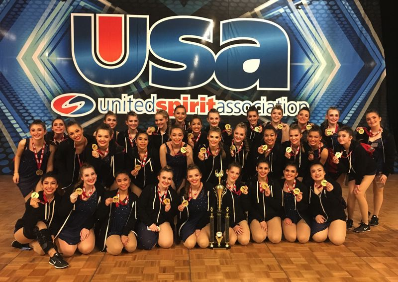 CONTRIBUTED PHOTO - The Gresham Rhythmettes show off their second-place medals in the Large Jazz division at a national dance competition in Anaheim last month.