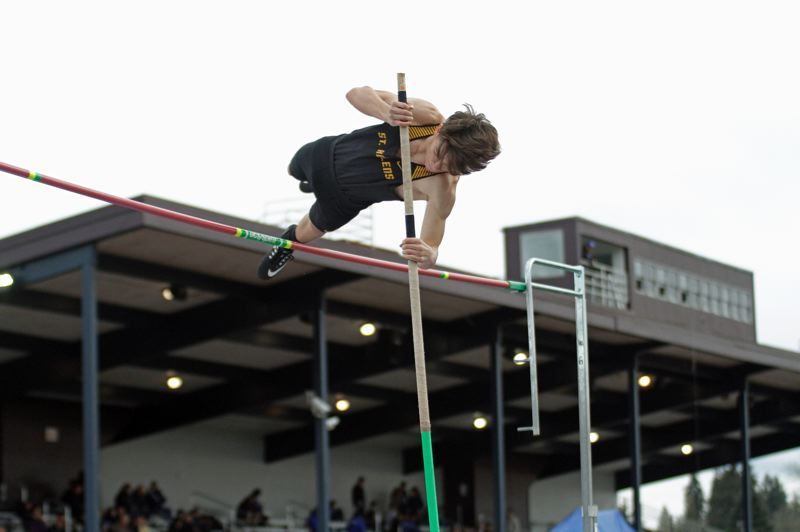 PMG PHOTO: WADE EVANSON - Jeremy O'Meara vaults 10 feet, 6 inches to place second for St. Helens in its Wednesday dual meet at Hillsboro.