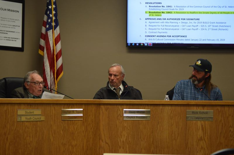 PMG PHOTO: NICOLE THILL-PACHECO - The St. Helens City Council voted to approve a contract with Alta Planning and Design on Wednesday, April 3. The consulting firm will assist the city with its application to the U.S. Department of Transportation federal grant program later this year.