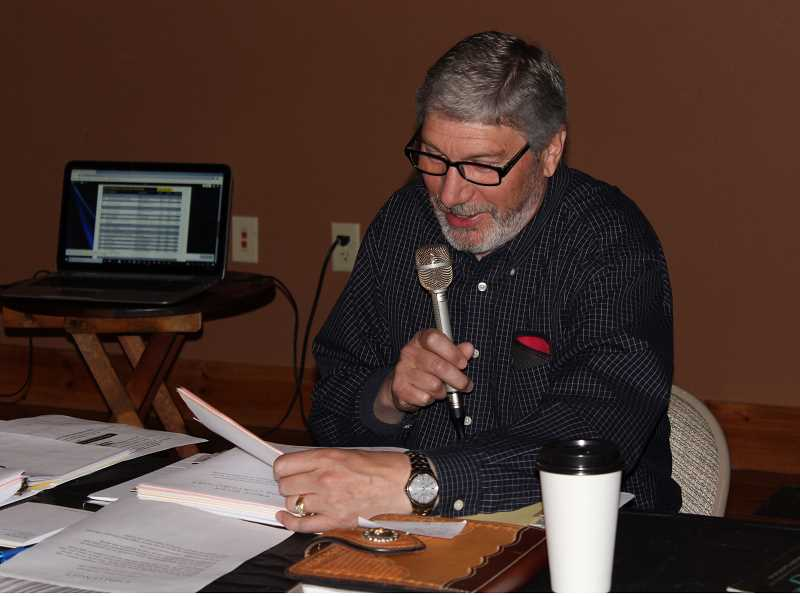 HOLLY SCHOLZ/CENTRAL OREGONIAN  - Rotary Club of Crook County President Ken Fahlgren takes a turn at the mic during Rotary on the Radio on April Fools' Day.