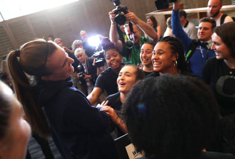 PMG PHOTO: JAIME VALDEZ - Sabrina Ionescu celebrates with teammates and friends Thursday, April 4, after being named the best women's college basketball player in the nation.