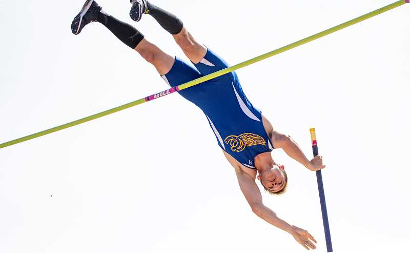 CENTRAL OREGONIAN FILE PHOTO - Noah Chaney competes in the pole vault last season. Chaney was one of six Crook County athletes to compete in a multi-event competition at Summit High School last weekend. Chaney finished seventh in the decathlon with a score of 4,886 points.