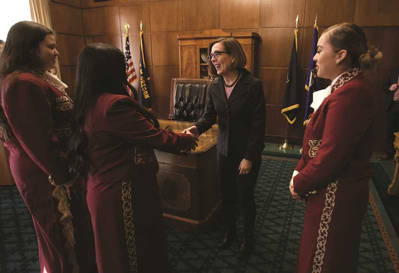 WOODBURN INDEPENDENT FILE PHOTO - Among its many performances, Woodburn High Schools Mariachi Band played at Oregon Gov. Kate Browns inauguration.