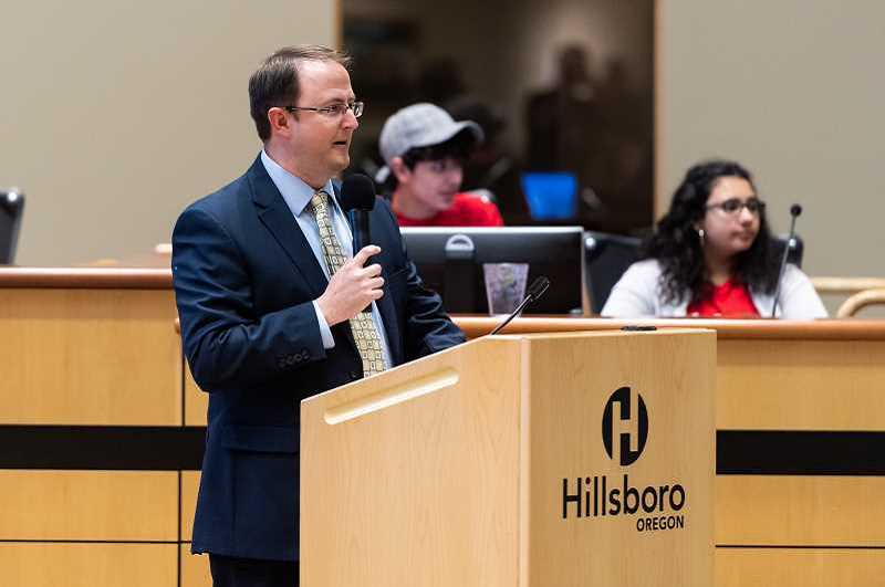 PMG PHOTO: CHRISTOPHER OERTELL - Interim City Manager Robby Hammon addresses a crowd during Hillsboro's State of the City address earlier this year. The city is currently looking to hire a new city manager and councilors are planning a listening tour with residents over the next few weeks.