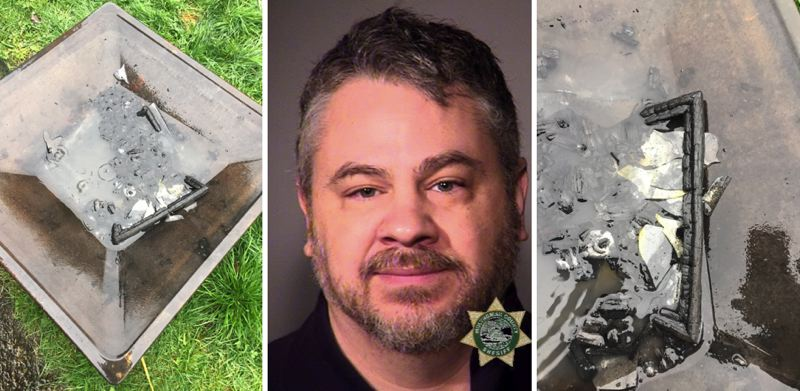 MCSO/PPB PHOTOS - Photos by Portland Police show the alleged ashen remains of ex-Mayor Neil Goldschmidt's portrait, along with the booking photo of activist Jeffrey Black.