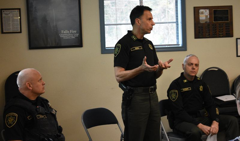PMG PHOTO: MATT DEBOW - Sheriff Michael Reese explains why he submitted a budget that eliminates the Corbett Community Resource Officer during a meeting at the Corbett Fire District Hall on Thursday March 22.