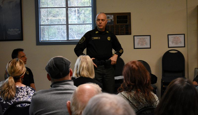 PMG PHOTO: MATT DEBOW - MCSO Chief Deputy Monte Reiser explains how he created the community resource officer position.
