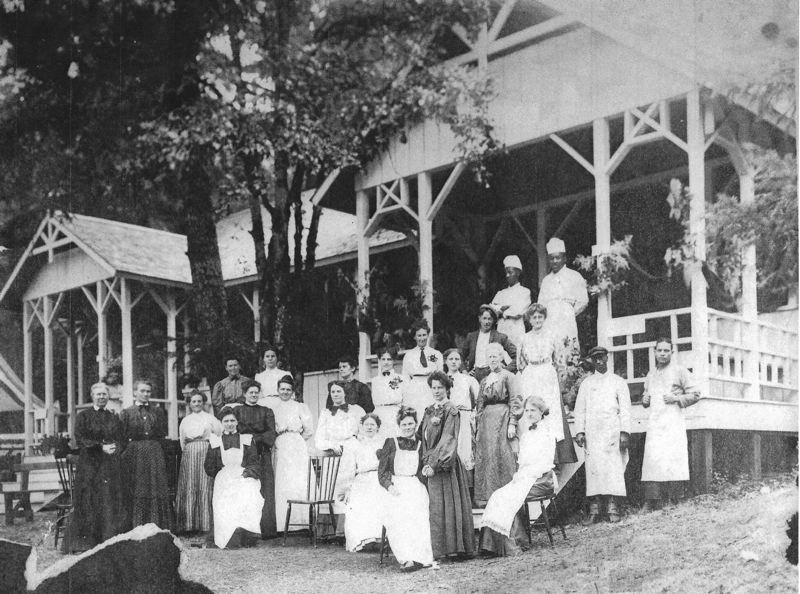 COURTESY PHOTO - Chautauqua festival staff gather for a group photo in 1910 in front of the open-air restaurant.