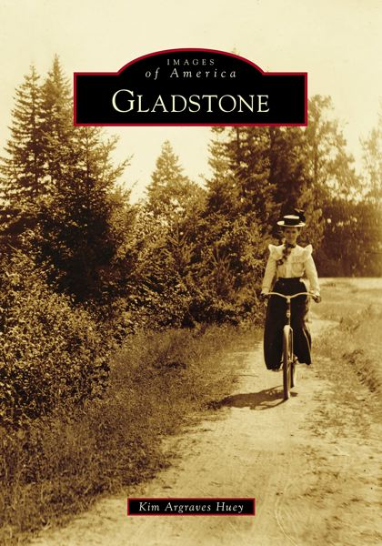 COURTESY PHOTO - On the cover of a recently released book, Mary Howell is shown in 1893 riding one of the first bicycles in Gladstone, along the northern bank of the Clackamas River.
