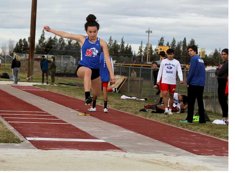 STEELE HAUGEN - Sophomore Olivia Symons placed first in both the long jump (16-00.75) and the 100-meter dash (13.49), beating athletes from Summit, Redmond and Lost River. The Buffs travel to Gladstone April 10.