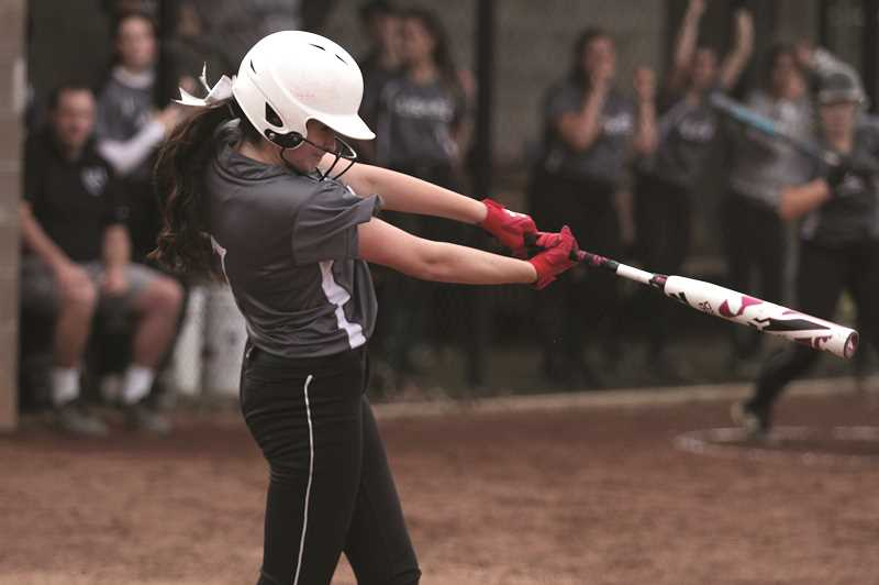 PMG PHOTO: PHIL HAWKINS - North Marion sophomore Lili Piercey was 2-for-4 with an RBI and a run scored. The Huskies notched 20 hits in the teams win over Molalla, with every batter tallying at least two hits.