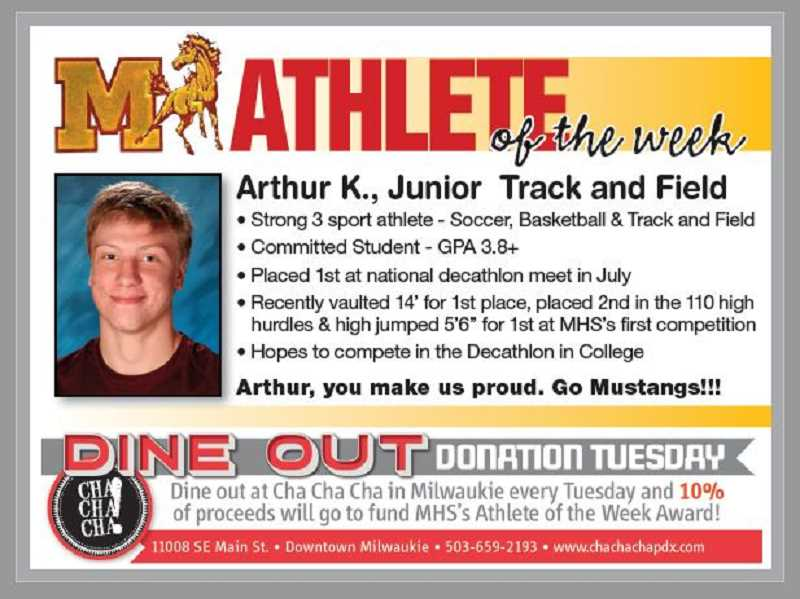 (Image is Clickable Link) MILWAUKIE HIGH SCHOOL ATHLETE OF THE WEEK - Milwaukie High School Athlete of the Week Arthur K., Junior Track and Field