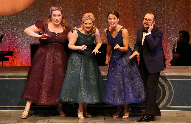 COURTESY PHOTO: BROADWAY ROSE - Caitlin Brooke, Deborah Mae Hill, Kelly Sina and Joey Cote sing in 'A Grand Night for Singing' at Broadway Rose Theatre Company in Tigard.