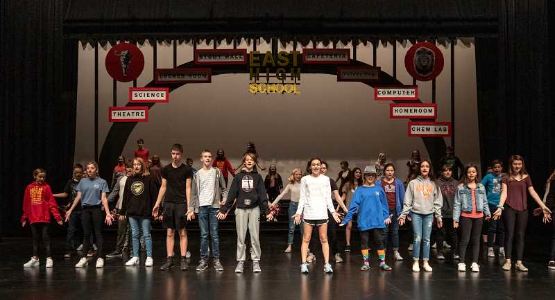 """PMG PHOTO: JONATHAN HOUSE - Middle school students practice """"High School Musical"""" at West Linn High."""