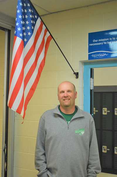 PMG PHOTO: EMILY LINDSTRAND - Jon Erickson of Estacada High School was named  the Veterans of Foreign Wars Teacher of the Year. He teaches history, government and psychology.