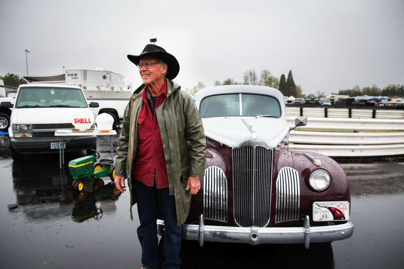 PMG PHOTO: ADAM WICKHAM - Rod Olsen was at Portland International Raceway to sell the 1941 Packard 110 he restored to fulfill a bucket list wish of driving Route 66 in a vintage car.