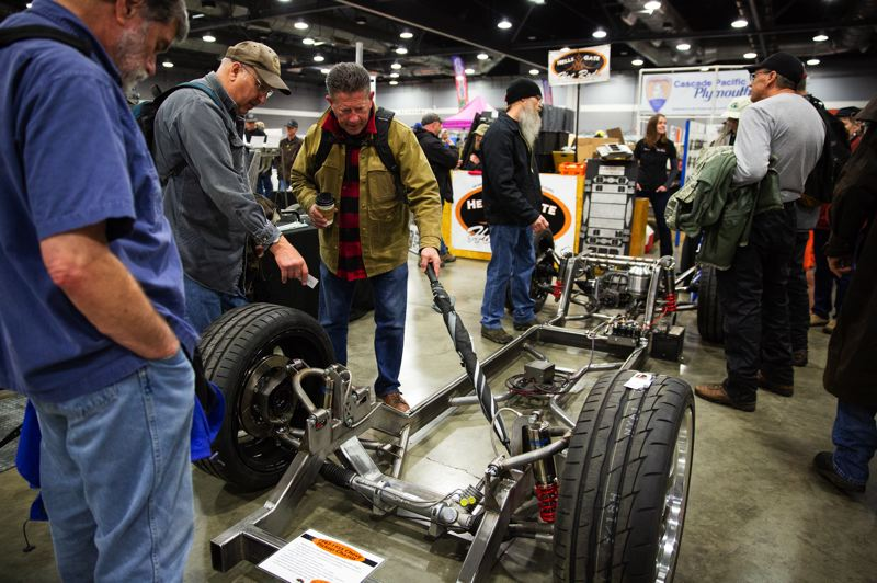 PMG PHOTO: ADAM WICKHAM - This ready-to-complete customized chassis from a 1947 to 1955 Chevy pickup attracted a lot of attention at the Expo Center swap meet.