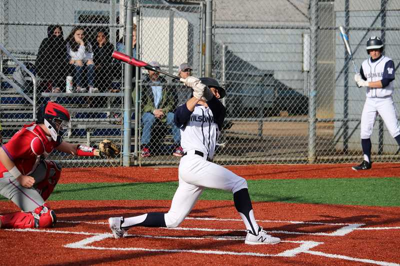 PMG PHOTO: JIM BESEDA - Wilsonville junior Cole Kleckner went 2 for 3 with a double, triple and three RBIs.