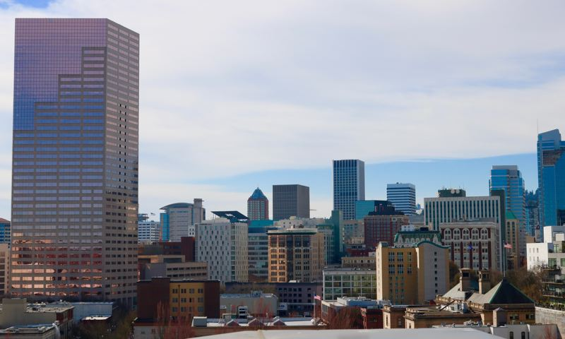 PMG PHOTO: ZANE SPARLING - Portland's skyline shows off the Big Pink skyscraper in a photo from early 2019.