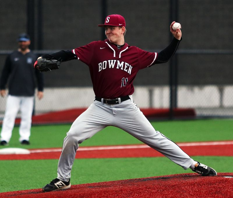 PMG PHOTO: DAN BROOD - Sherwood senior Sage Dunaway, shown here at a game earlier this season, pitched six shutout innings and also hit a triple for the Bowmen in their 3-0 win at Forest Grove on Tuesday.