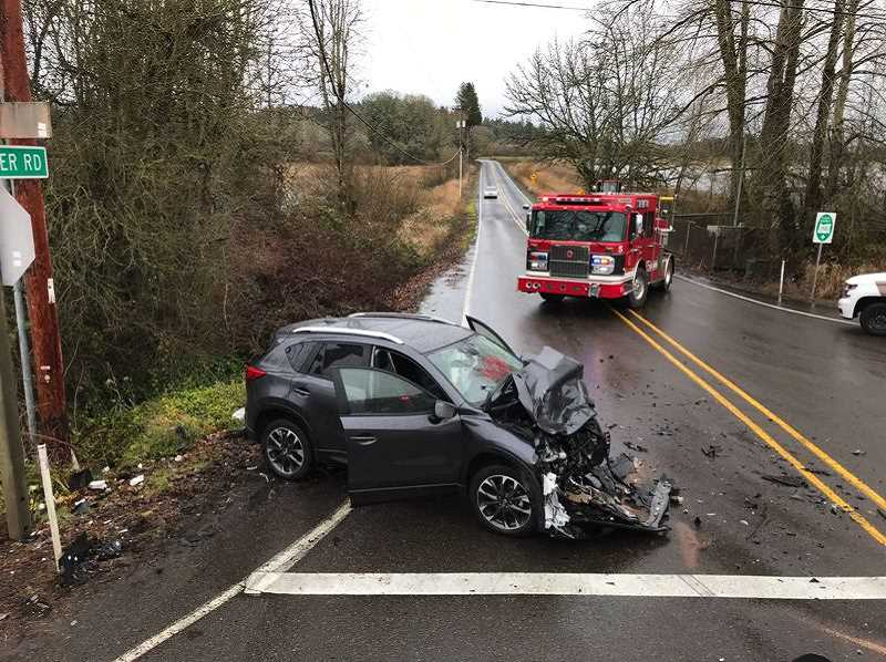 COURTESY PHOTO: WASHINGTON COUNTY SHERIFFS OFFICE - In February 2019, a crash occured along southwest Burkhalter Road and Highway 219 caused two people to go to the hospital and closures for a couple hours.