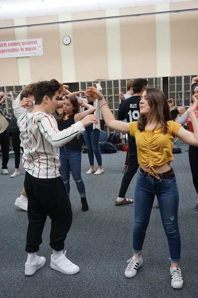 PMG PHOTO: CLAIRE HOLLEY - Lakeridge students Kody Oyama and Tia Lempert rehearse a routine from the variety show.